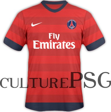 maillots psg 2012 2013 maillot rouge l 39 ext rieur psg mag le magazine du psg. Black Bedroom Furniture Sets. Home Design Ideas